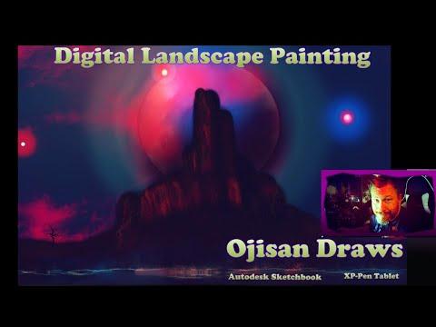 Digital Landscape Painting  Autodesk Sketchbook XP-Pen Tablet