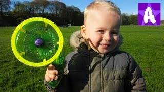 Funny Alex playing and having Fun with Blowing Bubble Toy