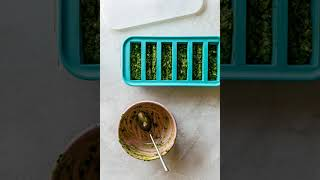 How to freeze pesto by souper cubes (half-cup portions)