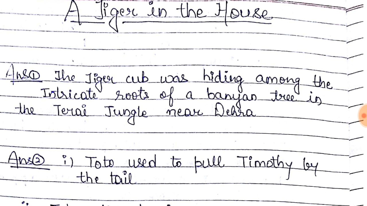 Class 7th A tiger in the house chapter 9 QUESTION ANSWERS full explaination  हिंदी में