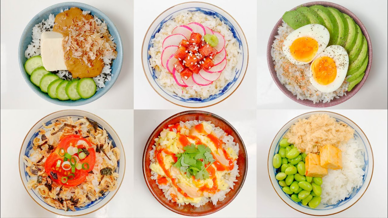 6 breakfast rice bowl recipes to enjoy 六碗不同配料的米飯早餐做法 [eng/中文] - YouTube