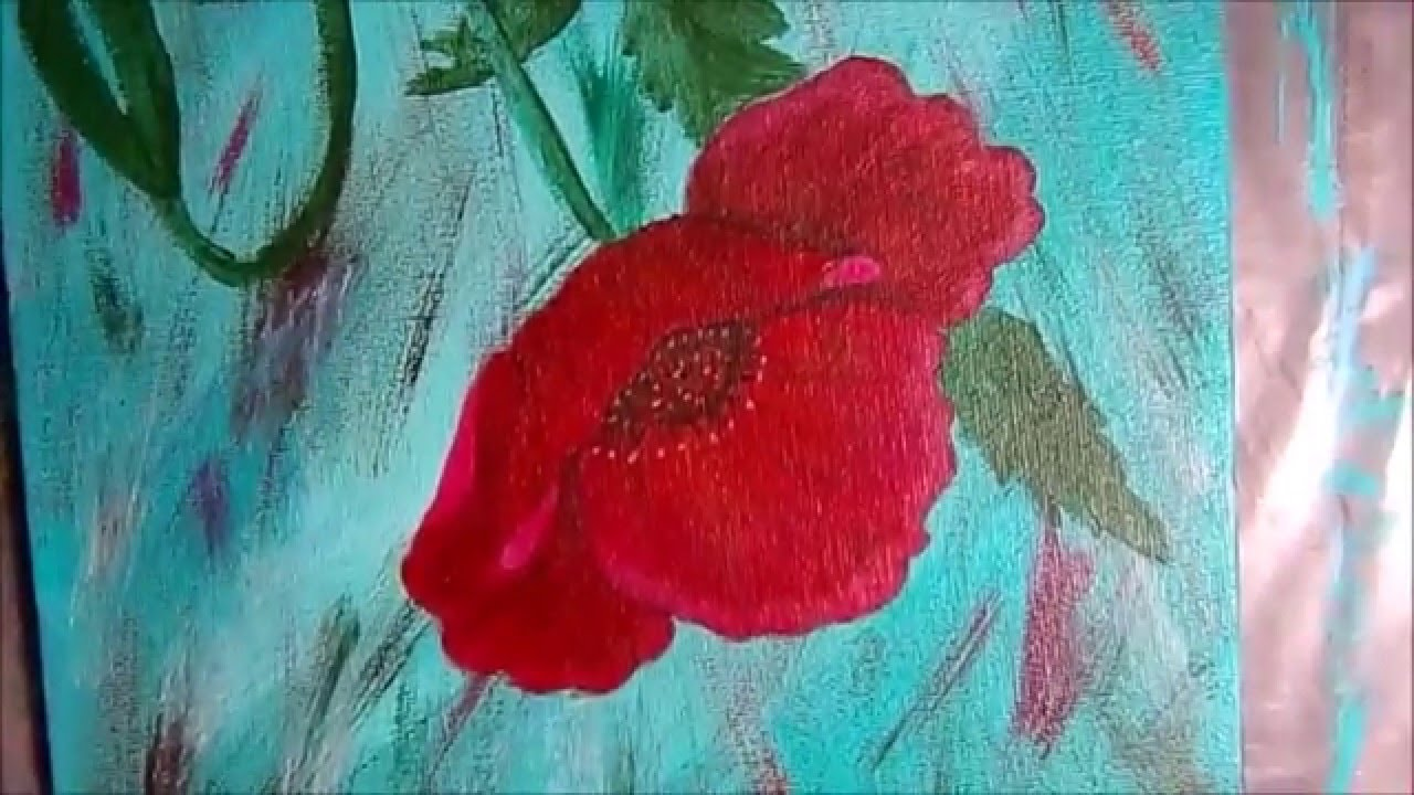 Beginners Acrylic Painting Poppy Flower On Canvas Youtube