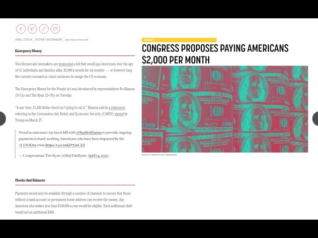 Congress Proposes Paying Americans $2000 Per Month