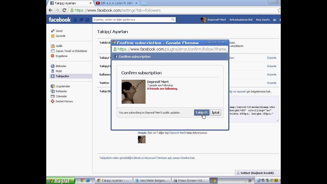 facebook takipci acma