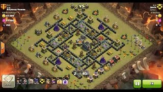 Clash of Clans TH9 vs TH9 Golem, Wizard & Witch (GoWiWi) Clan War 3 Star Attack