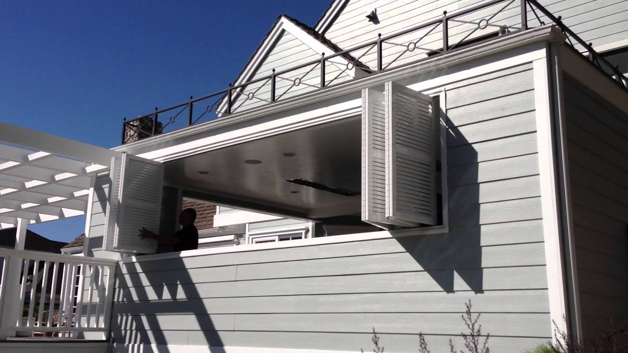 Exterior aluminum bi folding shutters opening from - Exterior doors that open to the outside ...