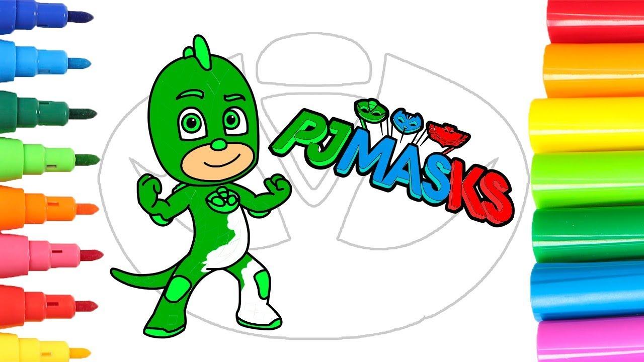 Pj Masks Cómo Pintar Y Colorear A Gekko De Heroes En Pijamas Aprender A Colorear