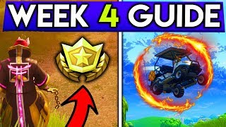 Fortnite WEEK 4 CHALLENGES GUIDE! FLAMING HOOP Locations, Secret Battlestar (Battle Royale Season 5)