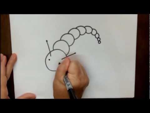 How to Draw a Caterpillar Step by Step Beginner Cartoon Tutorial