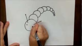 How To Draw A Caterpillar Step By Step Beginner Cartoon Tutorial