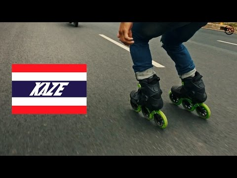 Tuk Tuk skate skitching on Powerslide Kaze Triskates - Urban Inline Skating in Thailand