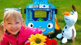 Alena plays with toys and little Bus by Chiko TV