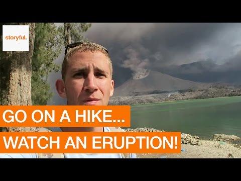 Hiker Witnesses Volcanic Eruption on Indonesian Island (Storyful, Crazy)