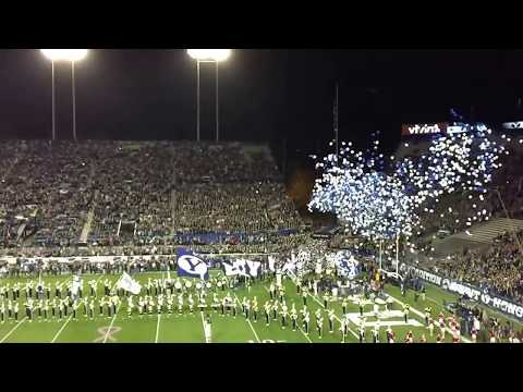 BYU vs. Nevada Football Game opening as players enter the stadium 10/18/2014