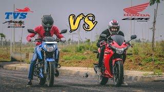 TVS Apache RTR160 4V FI vs Honda CBR 150R| Drag race and exhaust note comparison.