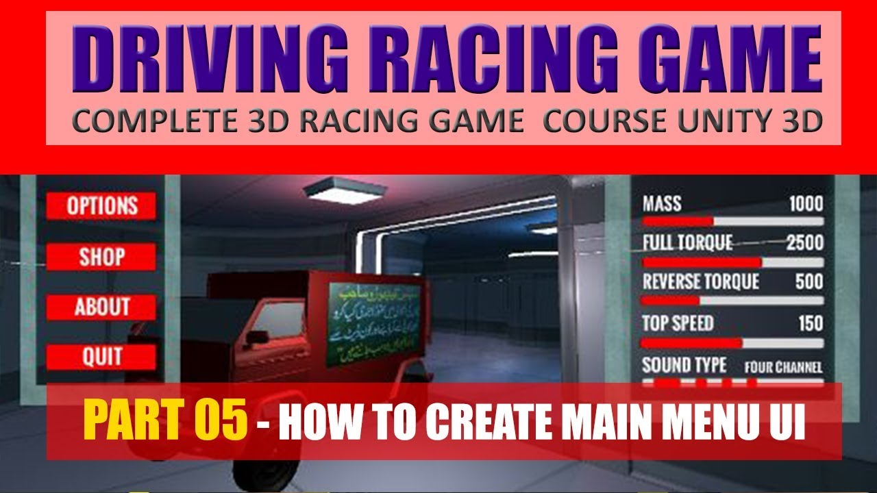 Main Menu UI For Game In Unity | Building Advance Driving Racing Game In Unity & C# #5