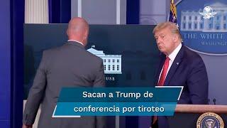 El presidente Donald Trump estaba en su conferencia vespertina cuando el Servicio Secreto ingresó y se llevó al mandatario, tras escucharse disparos afuera de la Casa Blanca; hay un herido