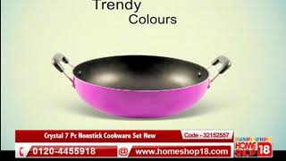 Homeshop18.com - Crystal 7 Pc Nonstick Cookware Set New