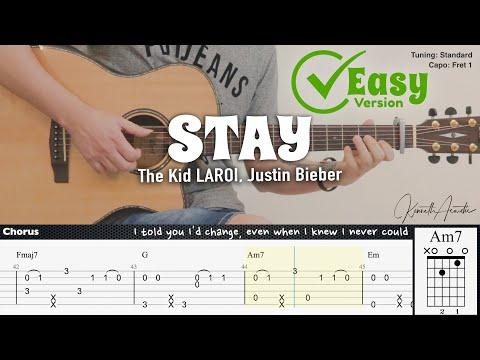 STAY (Easy Version) - The Kid LAROI, Justin Bieber | Fingerstyle Guitar | TAB + Chords + Lyrics