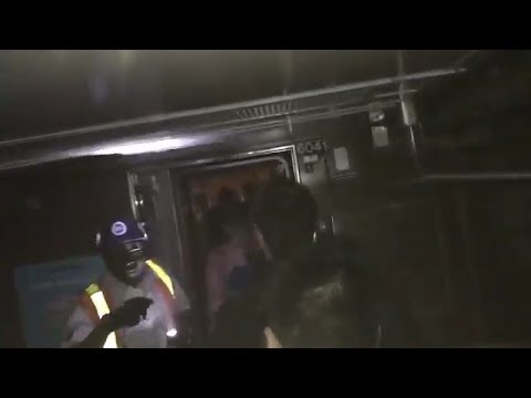 Thumbnail: Video shows the aftermath of a NYC subway train that derailed and crashed into a wall
