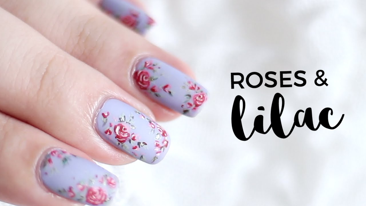 Roses and Lilac Nail Art | Followthatway - Roses And Lilac Nail Art Followthatway - YouTube