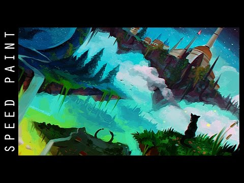 Digital Speed Painting – Fantasty Landscape (Photoshop CS6) !! (#Aaron Metallion).