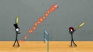 Стики играют в бадминтон 3 (Stick Figure Badminton 3) // Геймплей