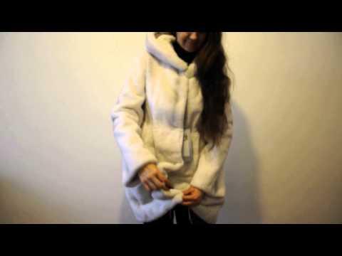Шуба белая стриженный бобер, опушка капюшона натуральная норка WBT0150-90CM-04# 38/1