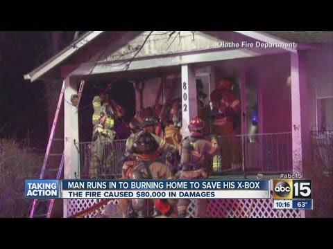 Homem entra em casa em chamas para resgatar seu XBOX