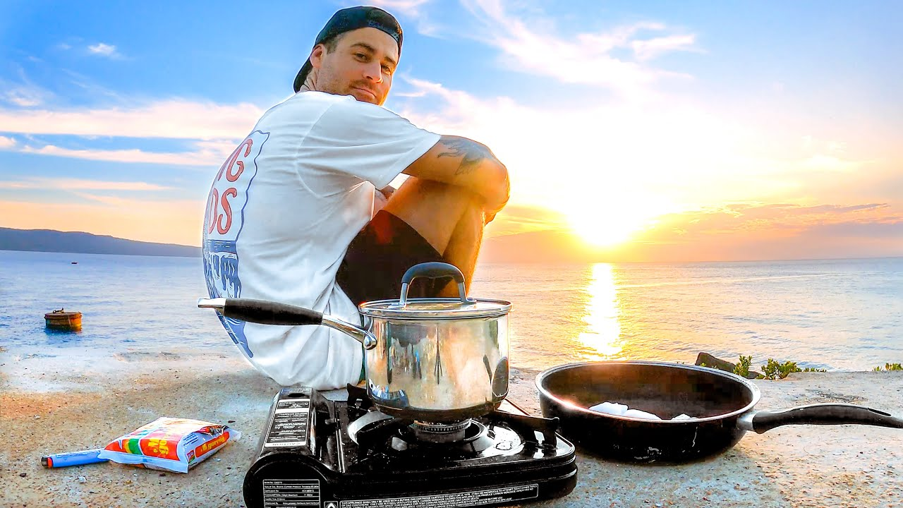 Living on $1 Noodles and Fish I Catch - Spearfishing for Food on a Tropical Island - Catch and Cook