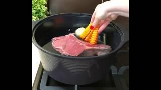 Сборная Солянка Рецепт, приготовлен в кастрюле из Южной Кореи Happycall Alumite 28 см 6,3 л
