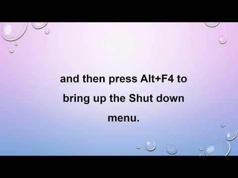 How to access shut down menu using a keyboard shortcut