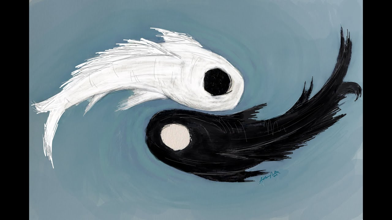 awesome yin and yang koi fish art by anthony 39 s art ep 7 inspired by avatar the last airbender. Black Bedroom Furniture Sets. Home Design Ideas