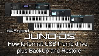 Roland Juno-DS - How to format USB thumb drive, plus BackUp and Restore