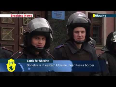 Pro-Russian Violence in East Ukraine: Police guard regional prosecutor's office in Donetsk