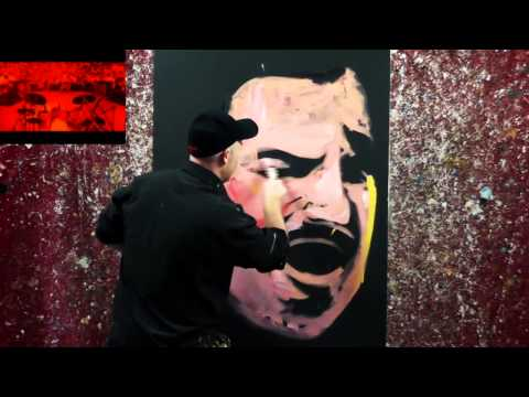 Amazing Speed Painter, Paints Two Faces In The One Picture!!