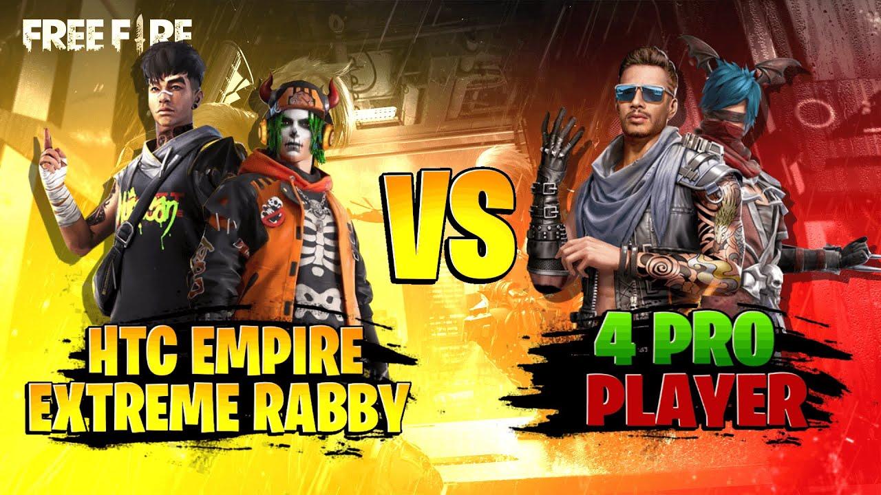 Extreme Rabby and HTC vs 4 Pro players || উরাধুরা মাইর খেলাম গিয়ে || Free Fire