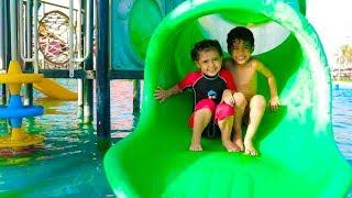 أول مرة أنس ولمار يتزحلقون بزحليقة مائية !!