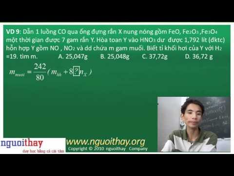 công thức giải nhanh hóa học (phần 6)