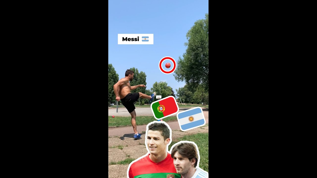 RONALDO vs MESSI vs ME! w- Trickshotdav #Shorts