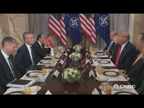 Trump serves up tough trade talk at NATO breakfast