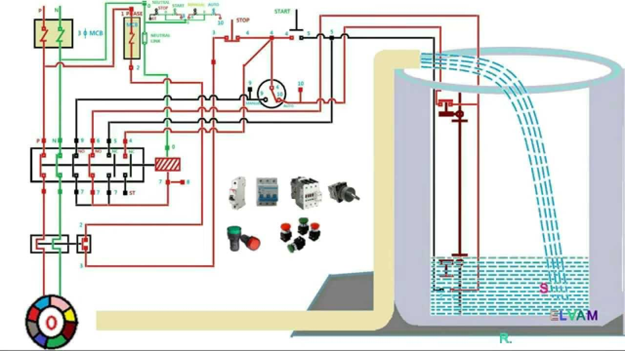 maxresdefault automatic water level controler single phase motor starter 1 phase motor starter wiring diagram at bayanpartner.co