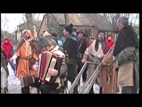 Dweilorkest bij de winterse Giethoornse Dorpentocht op 20 februari 1994