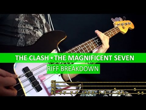 The Clash - The Magnificent Seven / Bass Cover / Playalong With TABS & Riff Tutorial