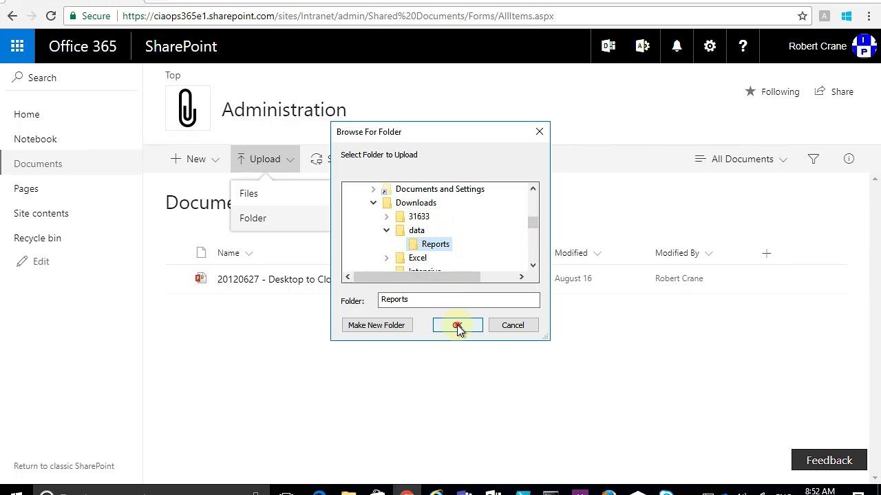 Upload a folder to a SharePoint Team Site