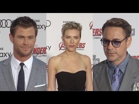 Marvel's Avengers: Age of Ultron Red Carpet Premiere Scarlett Johansson, Robert Downey Jr. poster