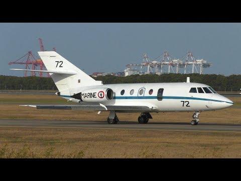 RARE French Navy Dassault Falcon 20 Takeoff   Brisbane Airport Plane Spotting