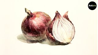 How to draw red onion in watercolor