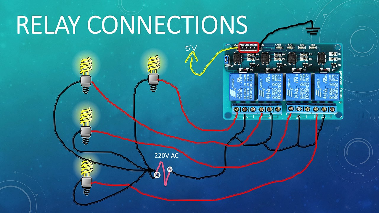 12 Volt Relay Wiring Schematic Four Channel Relay Connection Youtube