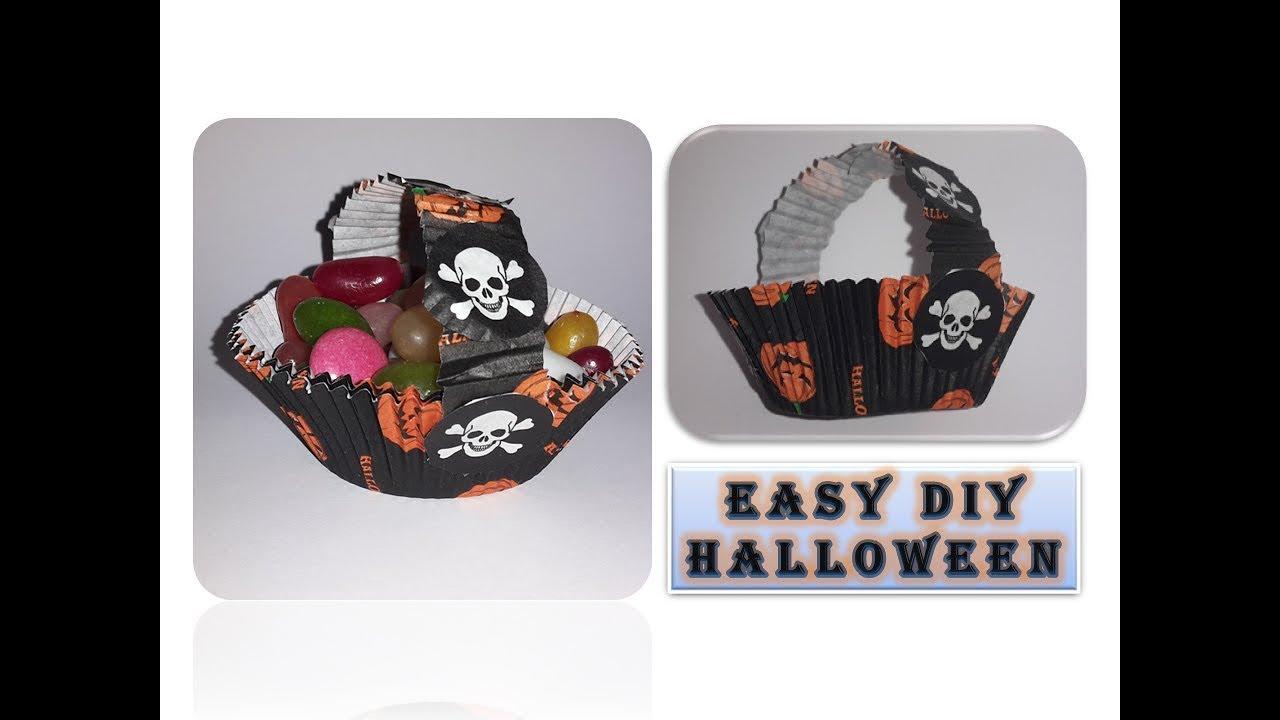 diy craft ideas halloween basket quick and easy korb. Black Bedroom Furniture Sets. Home Design Ideas